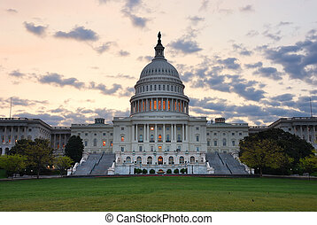 クローズアップ, 雲, カラフルである, 建物, 国会議事堂, dc., ワシントン, 朝, 丘