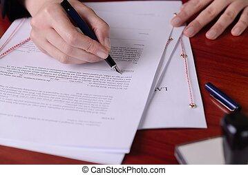 クローズアップ, pen., 意志, 最後, 手の 署名