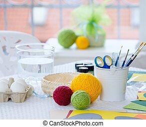 クローズアップ, tools., イースター, 飾り付ける, 絵, 卵