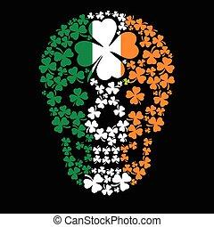 クローバー, アイルランド, 腕, 頭骨, コート