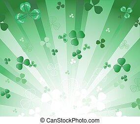 クローバー, 放射, 緑の背景