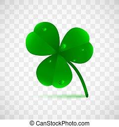 クローバー, 植物, ∥あるいは∥, 春, オブジェクト, 露, leafed, 隔離された, バックグラウンド。, fhree, 緑, 聖者, 雨滴, 休日, patrick's, 透明, waterdrops