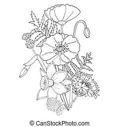 クローバー, cornflower, 黒, スイセン, テンプレート, 花, ケシ, 線