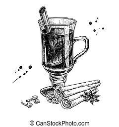 クローブ, mulled, 星, sketch., アニス, シナモン 棒, おや, ワイン