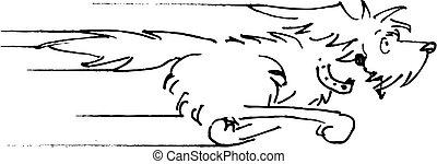 グラフィックアート, クリップ, &, 犬, 黒, 白