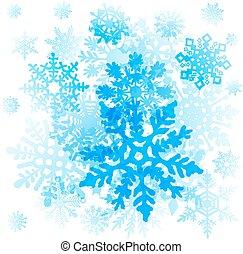 グラフィックアート, 雪片, icons., ベクトル, コレクション, クリスマス