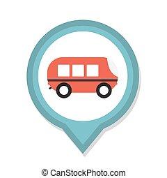 グラフィックス, イラスト, アイコン, ベクトル, 線, バス, 平ら, 要素