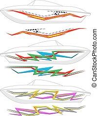 グラフィックス, ストライプ, 準備ができた, :, ボート, ビニール