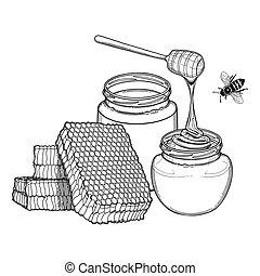 グラフィック, びん, 蜂蜜の ディッパー, 蜂, ハニカム, 飾られる