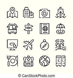 グラフィック, アウトライン, アイコン, 単純である, collection., 旅行, 現代, ベクトル, デザイン, 概念, 線, set., 要素