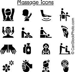 グラフィック, &, イラスト, マッサージ, デザインを設定しなさい, エステ, 療法, 選択肢, アイコン