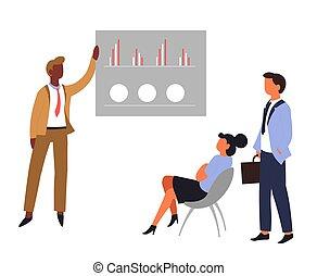 グラフィック, オフィス, ビジネス, 労働者, チャート, チームワーク, ミーティング, ∥あるいは∥