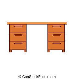 グラフィック, カラフルである, オフィス, 木製である, 暗い, 机, 線, 輪郭, 赤