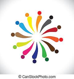 グラフィック, カラフルである, 人々, 抽象的, ベクトル, circle-, 幸せ