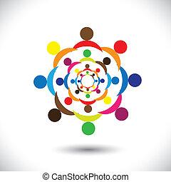 グラフィック, カラフルである, 人々, 抽象的, circles-, ベクトル, サイン