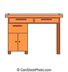 グラフィック, カラフルである, 木製である, 暗い, 机, 家, 線, 輪郭, 赤