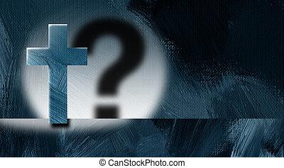 グラフィック, キリスト教徒, 質問, 交差点, 印, キャスト, 背景, 影, スポットライト