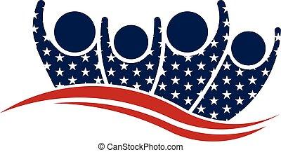 グラフィック, グループ, 人々, アメリカ人, ベクトル, logo.