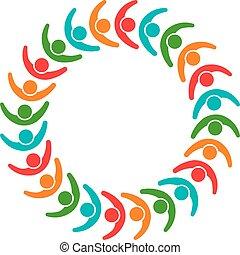 グラフィック, グループ, 人々, イラスト, ベクトル, チームワーク, デザイン, logo., 連合