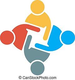 グラフィック, グループ, 人々, イラスト, ベクトル, チームワーク, デザイン, logo.