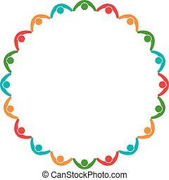 グラフィック, グループ, 人々, 一緒に, ベクトル, デザイン, イラスト, 保有物, logo.