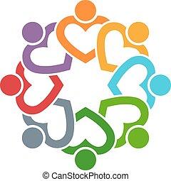 グラフィック, グループ, 人々, 友人, ベクトル, hearts., デザイン, 8