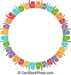 グラフィック, グループ, 働いている人達, 一緒に, ベクトル, デザイン, イラスト, logo.