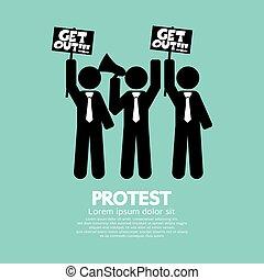 グラフィック, グループ, 抗議者, シンボル。