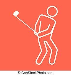 グラフィック, ゴルフ, アウトライン, 数字, シンボル, イラスト, ベクトル, スポーツ