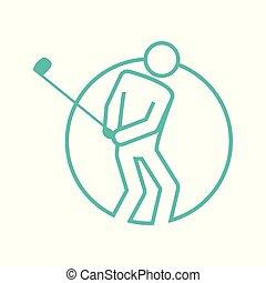 グラフィック, ゴルフ, アウトライン, 数字, シンボル, イラスト, 形, ベクトル, 円, スポーツ