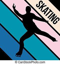 グラフィック, シルエット, スポーツ, スケート, 活動, ベクトル
