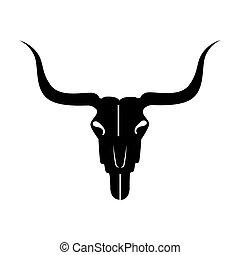 グラフィック, スケルトン, 頭骨, ベクトル, 雄牛, アイコン
