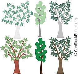 グラフィック, セット, クリップ, 木。, 落葉性, ベクトル, 芸術