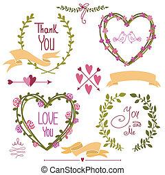 グラフィック, セット, 矢, 花輪, 花, 結婚式