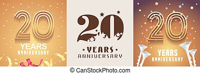 グラフィック, セット, 記念日, 年, ベクトル, デザイン, アイコン, 20, 要素, シンボル。