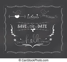 グラフィック, セット, 黒板, 結婚式
