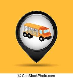 グラフィック, トラック, 動物, 輸送, アイコン