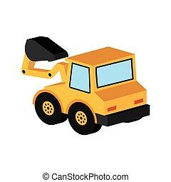 グラフィック, トラック, 黄色, 掘削機, アイコン