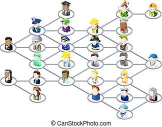 グラフィック, ネットワーク, 人々
