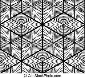 グラフィック, パターン, 対称的, モノクローム, 幾何学的, design., 無限