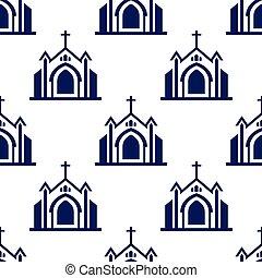 グラフィック, パターン, seamless, イラスト, バックグラウンド。, ベクトル, デザイン, 教会