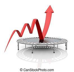 グラフィック, ビジネス, トランポリン, 成長, relaunched, 赤