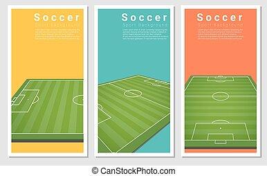 グラフィック, フットボールフィールド, 3, セット, 背景