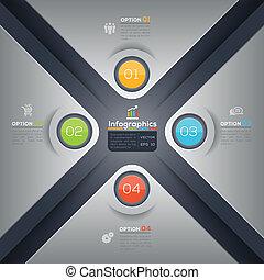 グラフィック, レイアウト, ビジネス, 現代, 形, デザイン, infographics, x