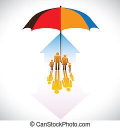 グラフィック, 傘, 安全である, 家族, アイコン, &, 人々, 予防措置