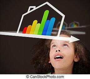 グラフィック, 効率的である, 家, エネルギー, の上, 見る, 女の子, 驚かされる