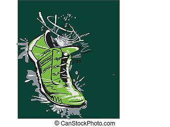 グラフィック, 動くこと, ベクトル, 靴