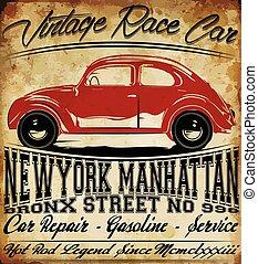 グラフィック, 古い, ワイシャツ, 古典的な 車, デザイン, t, 型, 人, レトロ