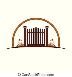 グラフィック, 古い, 庭, シンボル, イラスト, デザイン, 門, ロゴ