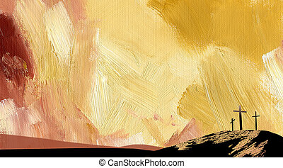 グラフィック, 抽象的, 交差点, 黄色, calvary, 背景